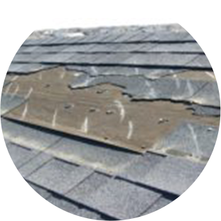 Roof shingles damaged by weather